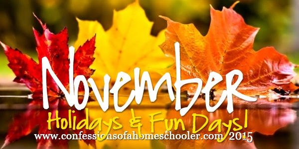 November 2015 Holidays & Fun Days