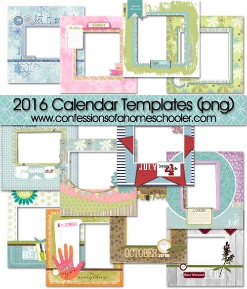 2016 Monthly Digital Scrapbooking Templates
