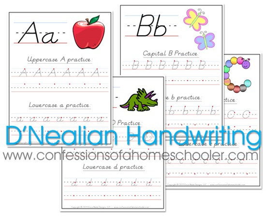 D'Nealian Handwriting Worksheets