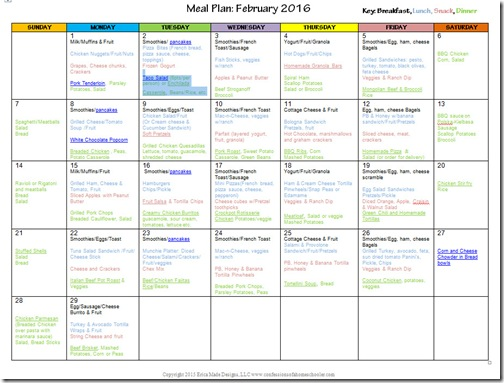 2016 February Monthly Meal Plan