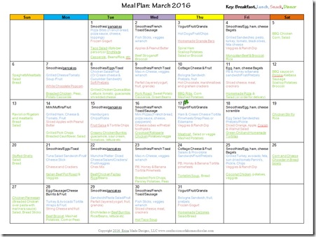 March 2016 Monthly Meal Plan