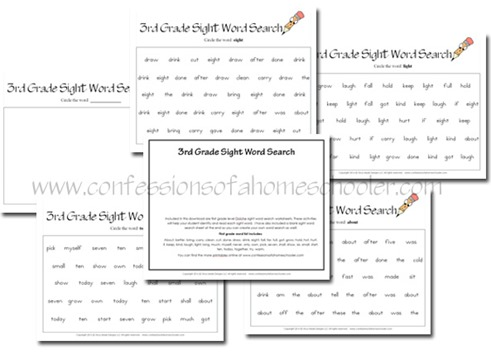 3rd Grade Sight Word Search Worksheets