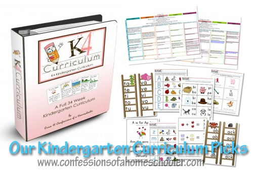 Kindergarten Homeschool Curriculum Picks - Confessions of a