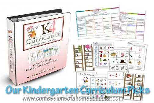 Kindergarten Homeschool Curriculum Picks