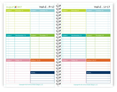 2016-2017 5×7 Student Lesson Planner