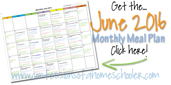 June 2016 Monthly Meal Plan