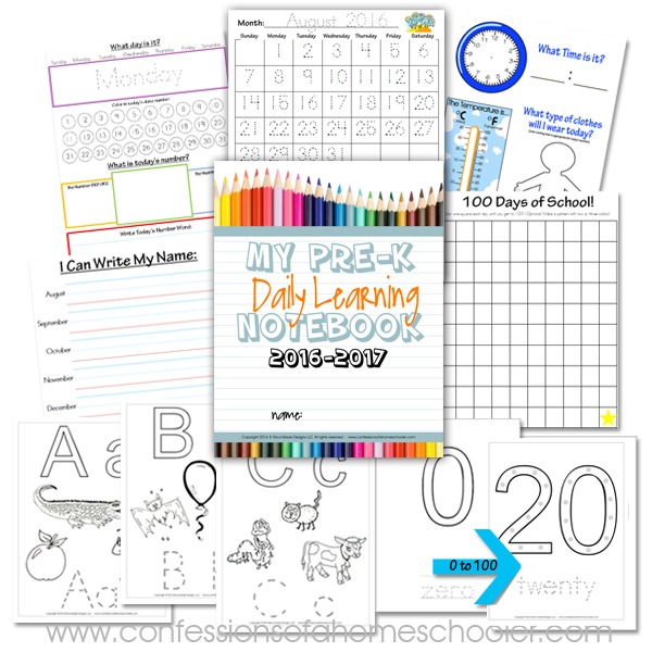 2016-2017 Preschool Daily Learning Notebook