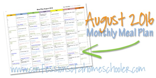 August 2016 Monthly Meal Plan