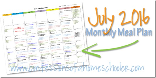 July 2016 Monthly Meal Plan