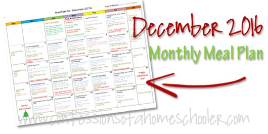 2016 December Monthly Meal Plan