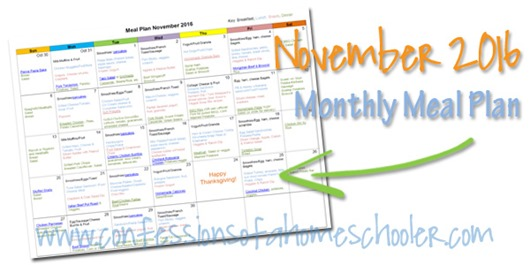 2016 November Monthly Meal Plan