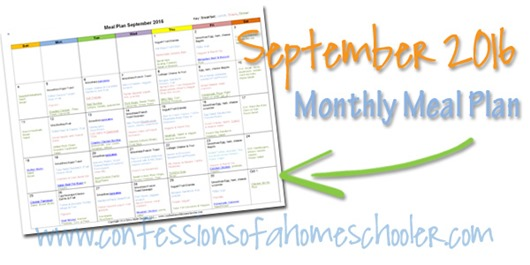 2016 September Monthly Meal Plan