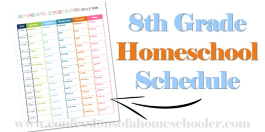 8th Grade Homeschool Schedule