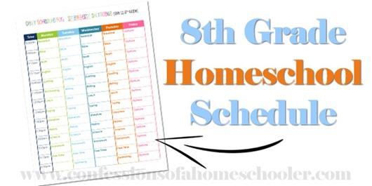 8th Grade Homeschool Schedule