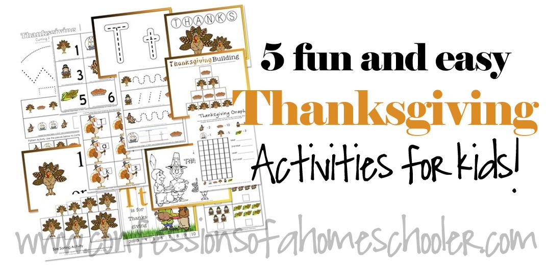 Preschool and Kindergarten Thanksgiving Activities