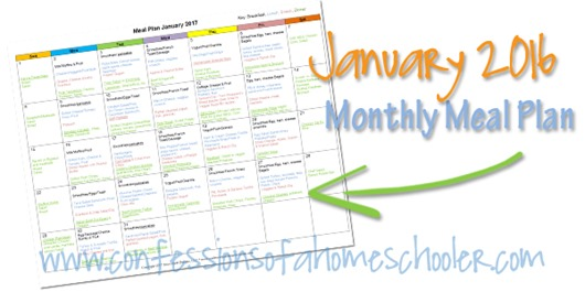 2017 January Monthly Meal Plan