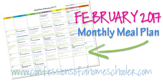 February 2017 Monthly Meal Plan