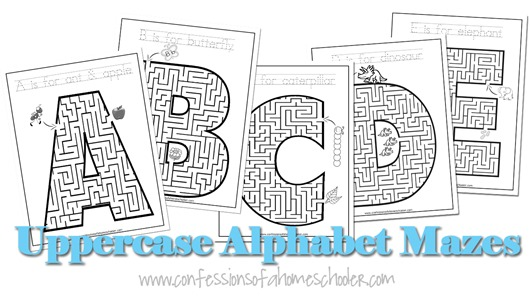 Uppercase A-Z Alphabet Mazes