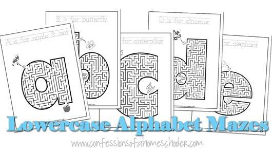 Lowercase a-z Alphabet Mazes