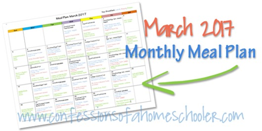 March 2017 Monthly Meal Plan