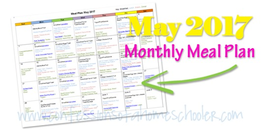 May 2017 Monthly Meal Plan