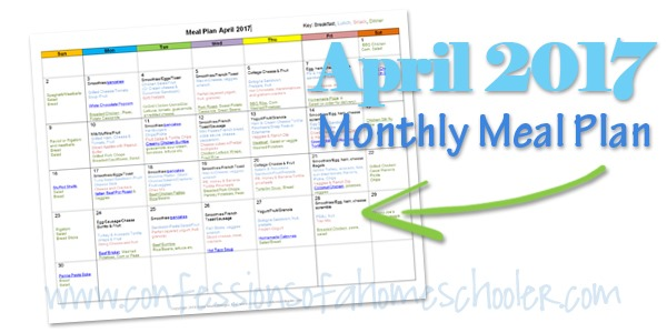 April 2017 Monthly Meal Plan