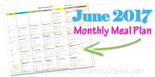 June 2017 Monthly Meal Plan