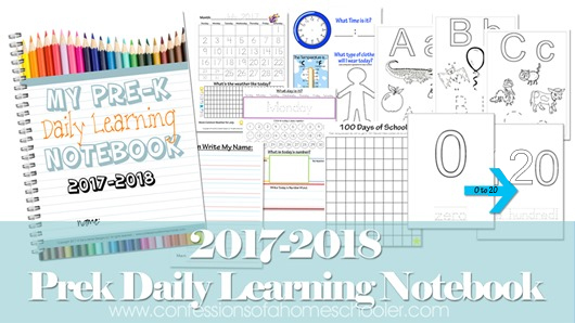 2017-2018 Preschool Daily Learning Notebook
