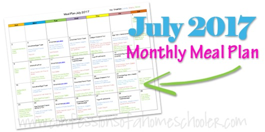 July 2017 Monthly Meal Plan