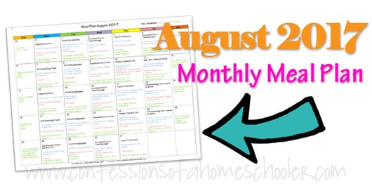 August 2017 Monthly Meal Plan