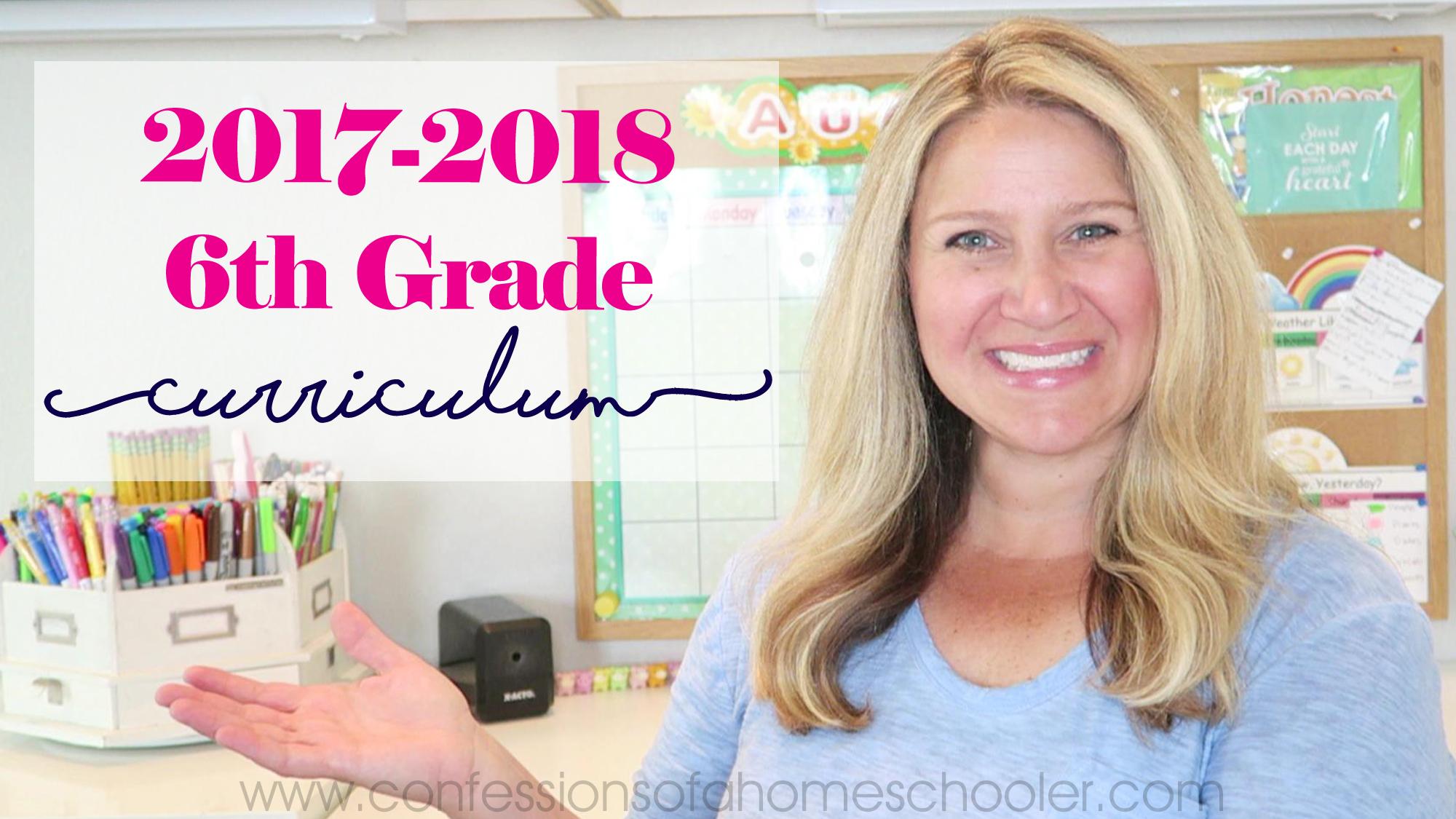 2017-2018 6th Grade Homeschool Curriculum Picks