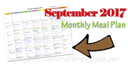 September 2017 Monthly Meal Plan