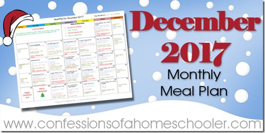 December 2017 Monthly Meal Plan
