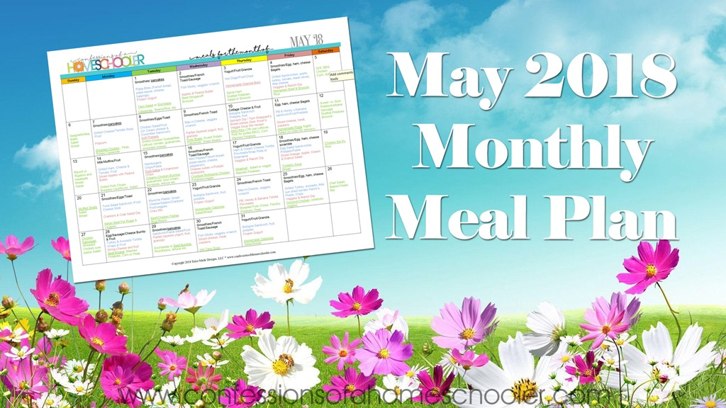 May 2018 Monthly Meal Plan