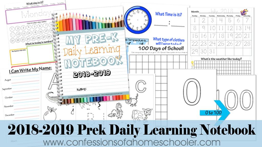 2018-2019 Preschool Daily Learning Notebook
