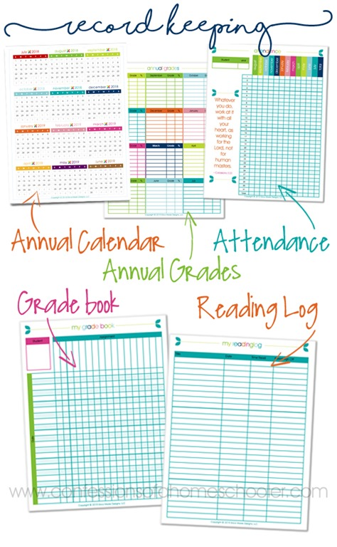image about Free Printable Homeschool Record Keeping Forms named 2018-2019 Homeschool Lesson Planner - Confessions of a