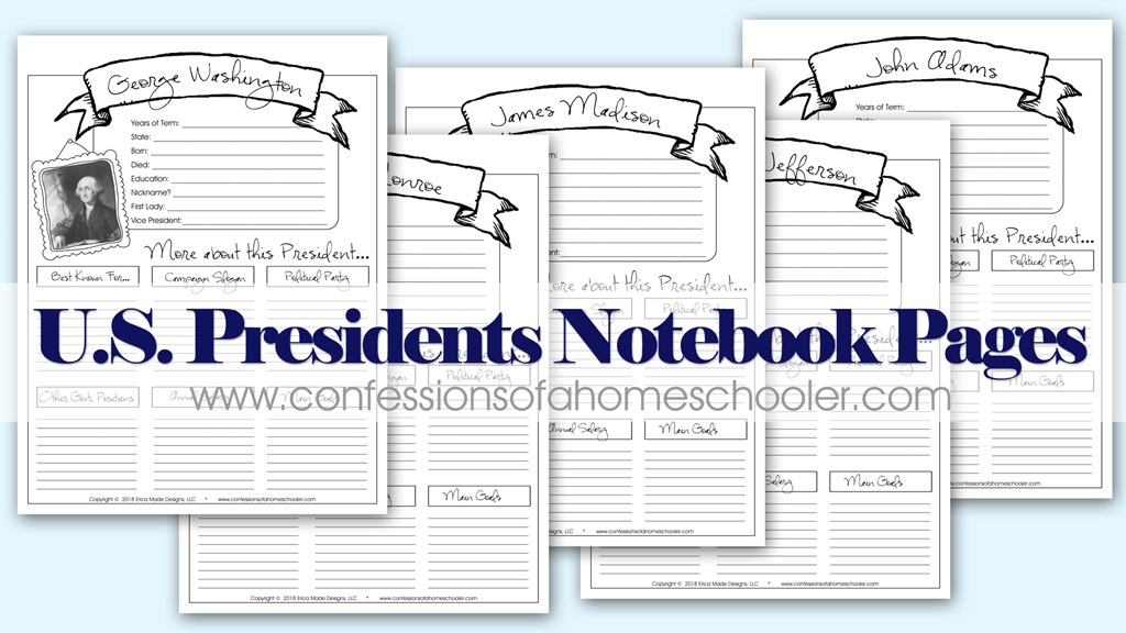 United States President Notebooking Pages