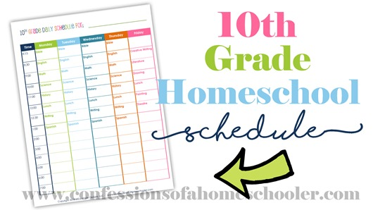 10th Grade Daily Homeschool Schedule