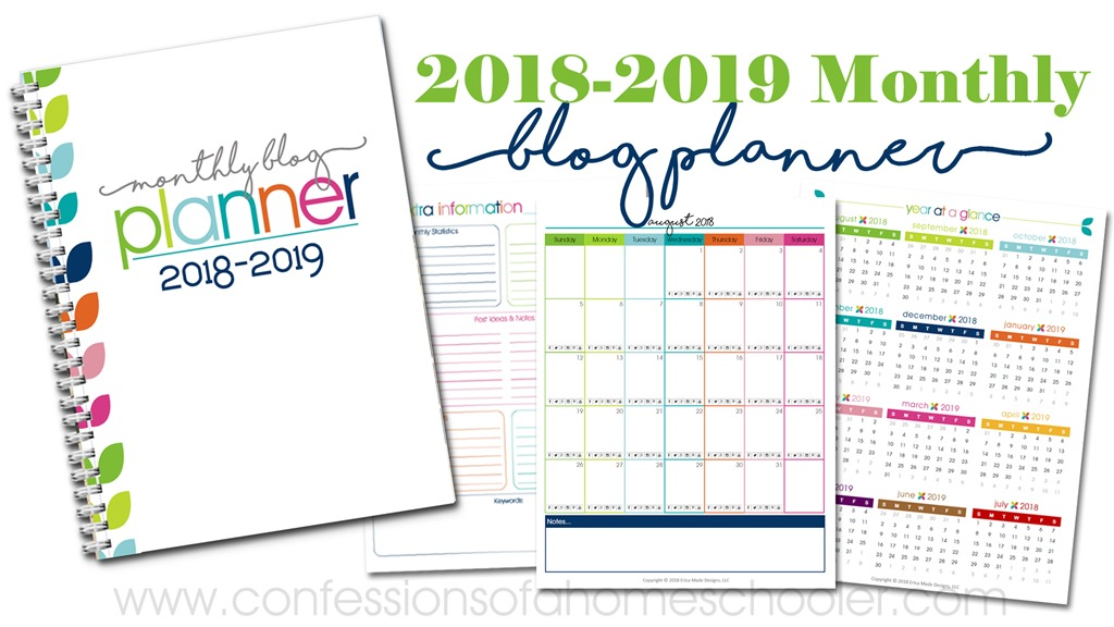 2018-2019 Monthly Blog Planner