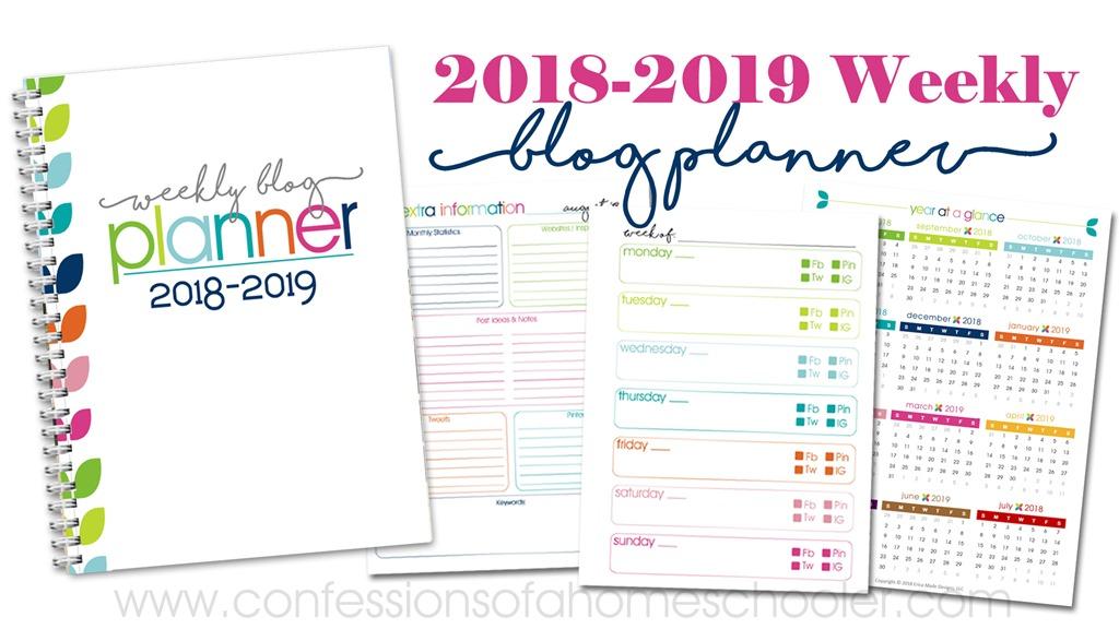 2018-2019 Weekly Blog Planner