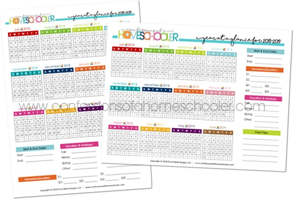 2018-2019 Year at a Glance Calendar Printable