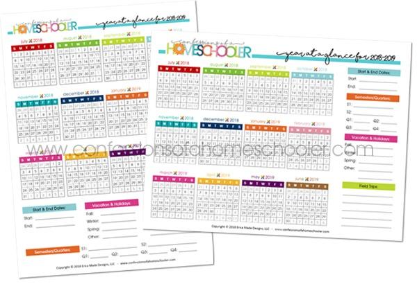2018-2019 Year at a Glance Calendar Printable