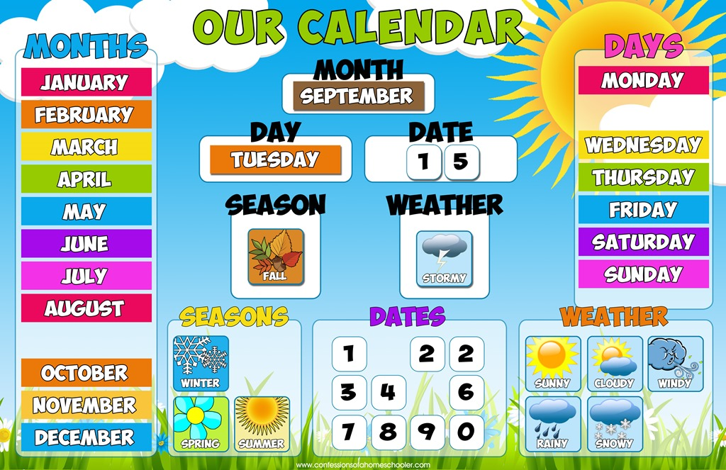 Educational Calendar Bulletin Set