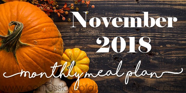 November 2018 Monthly Meal Plan