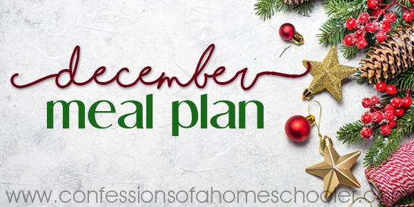 December 2018 Monthly Meal Plan