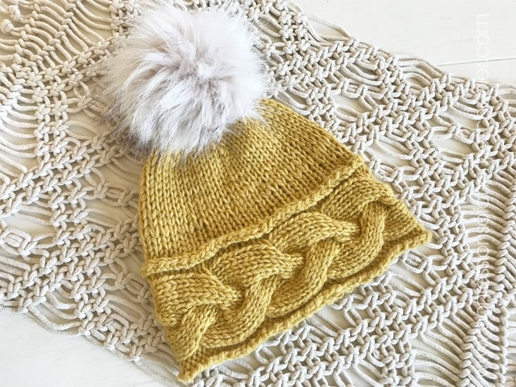 Wheatlands: Braided Cable Knit Beanie Pattern