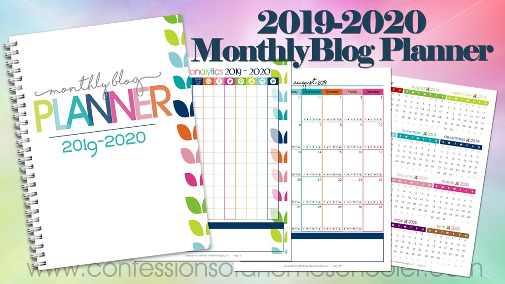 2019-2020 Monthly Blog Planner