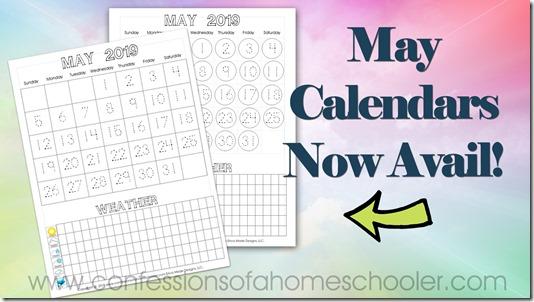 May 2019 FREE Printable Calendars
