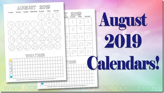 August 2019 Printable Calendars! - Confessions of a Homeschooler
