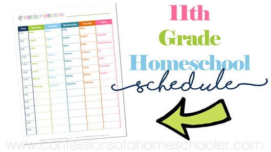 11th Grade Daily Homeschool Schedule